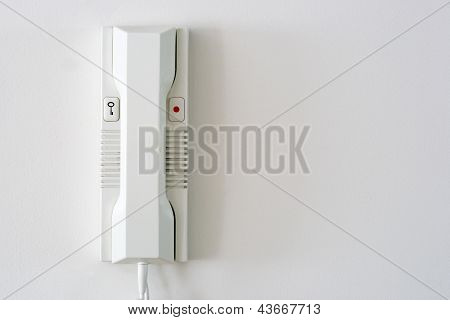 Entryphone Intercom on white wall
