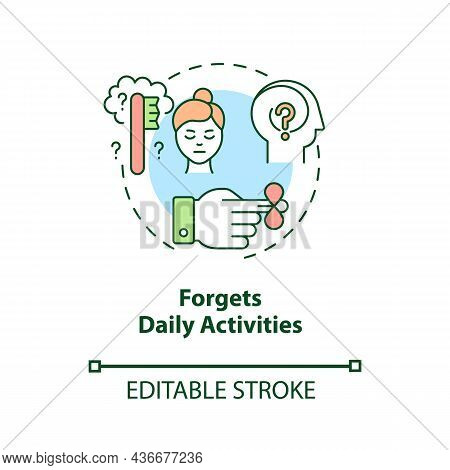 Forgets Daily Activities Concept Icon. Inattentive Symptom Abstract Idea Thin Line Illustration. Iss