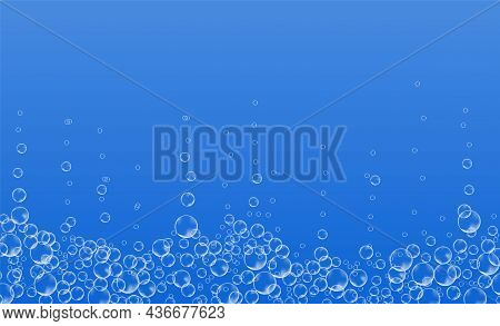 Underwater Bubbles Of Fizzing Soda. Streams Of Air. Realistic Oxygen Pop In Effervescent Drink. Vect