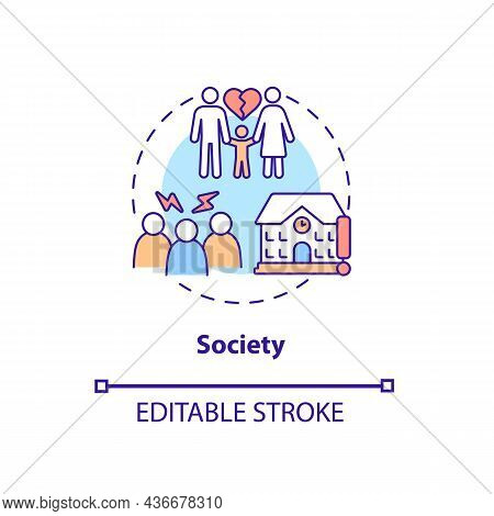 Society Concept Icon. Adhd Cause Abstract Idea Thin Line Illustration. Changes In Brain Structure. C