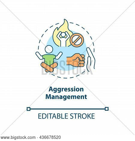 Aggression Management Concept Icon. Parenting Tip For Adhd Abstract Idea Thin Line Illustration. Tea