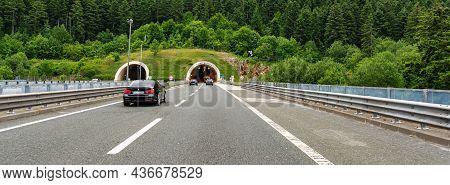 Rijeka, Croatia - July 25, 2021: Tunnel On The Express Road In Rijeka, Croatia.