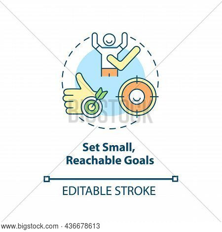 Set Small, Reachable Goals Concept Icon. Parenting Tip For Adhd Abstract Idea Thin Line Illustration