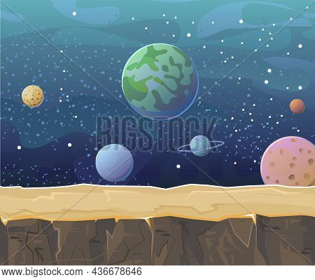 Cosmos Background. Platform. Starry Sky Landscape. Planets And Their Satellites. Flat Style. Cartoon