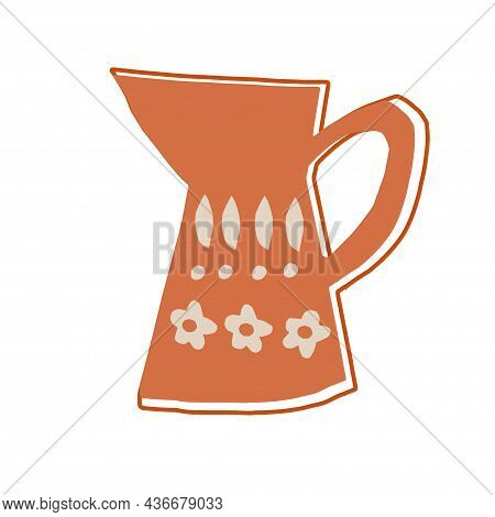 Flower Vase In Childish Paper Cutting Style Isolated On White Background. Brown Ceramic Empty Pots W