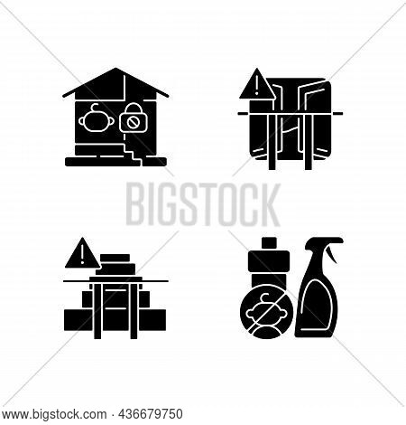 Safety Precaution At Home Black Glyph Icons Set On White Space. Falling And Poisoning Prevention. Ke