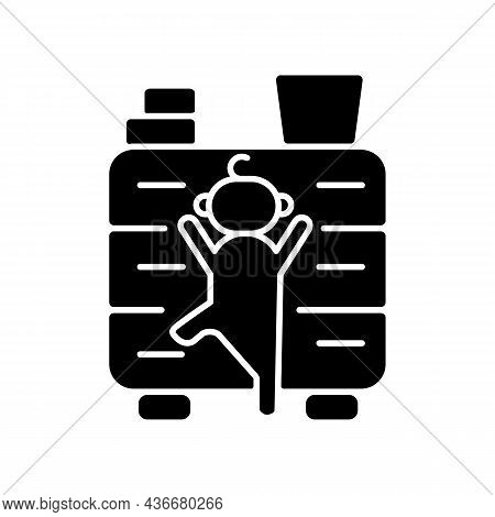 Child Climbing On Furniture Black Glyph Icon. Child Safety At Home. Risk Of Concussion And Broken Li