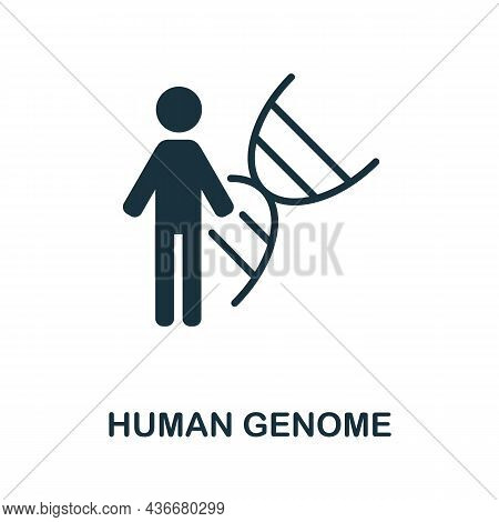 Human Genome Icon. Monochrome Sign From Bioengineering Collection. Creative Human Genome Icon Illust