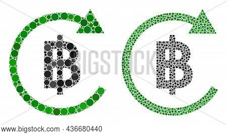 Dot Thai Baht Repay Icon. Collage Thai Baht Repay Icon Composed Of Circle Elements In Various Sizes