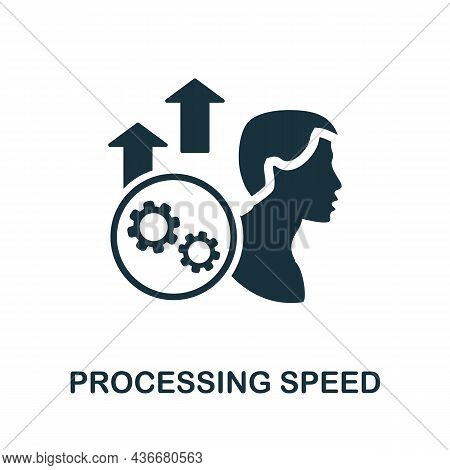 Processing Speed Icon. Monochrome Sign From Cognitive Skills Collection. Creative Processing Speed I