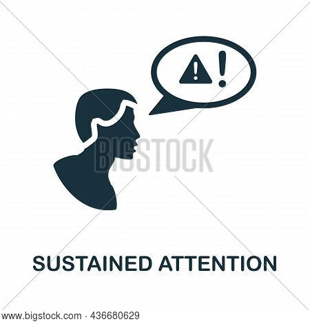 Sustained Attention Icon. Monochrome Sign From Cognitive Skills Collection. Creative Sustained Atten