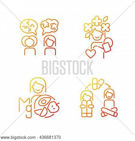 Mental Disorders Treatment Gradient Linear Vector Icons Set. Depression Medication Therapy. Mental H