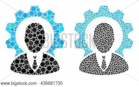 Dotted Industry Boss Icon. Collage Industry Boss Icon Composed Of Round Items In Random Sizes And Co