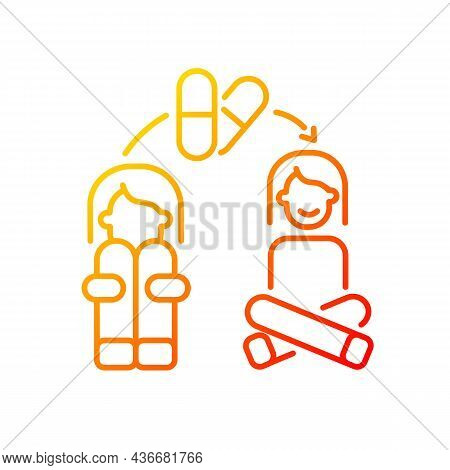 Medication For Panic Treatment Gradient Linear Vector Icon. Anti Anxiety Pills. Antidepressants And
