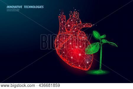 3d Heart In Green Leaves. Harmony Feeling Happy Emotion Psychology Concept. Mental Health Soul Thera