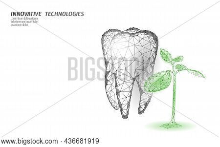 3d Natural Tooth Care Probiotics Capsule Concept. Anatomical Molar Tooth Healthy Enamel Herbal Alter