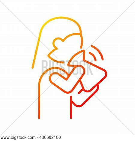 Hyperventilation Gradient Linear Vector Icon. Panic Attack Symptom. Respiratory Problem. Fast Inhale
