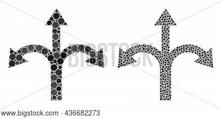 Dot Triple Bifurcation Arrow Icon. Collage Triple Bifurcation Arrow Icon Designed From Round Items I