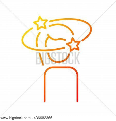 Vertigo Gradient Linear Vector Icon. Dizziness And Rounding Due To Anxiety. Health Problem And Its T