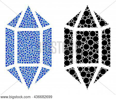 Pixel Crystal Icon. Collage Crystal Icon Designed From Round Elements In Random Sizes And Color Ting