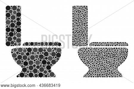 Pixelated Toilet Seat Icon. Mosaic Toilet Seat Icon Designed From Round Parts In Different Sizes And