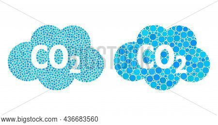 Pixel Carbon Dioxide Cloud Icon. Mosaic Carbon Dioxide Cloud Icon Constructed From Circle Elements I