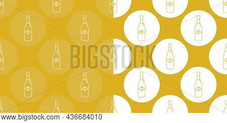 Two View Seamless Pattern Of Bottle Of Martini In Flat Style In Form Of Thin Lines. In The Form Of B