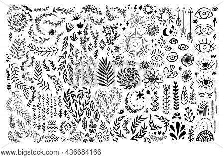 Doodle Boho Vintage Floral Set. Bohemian Symbols In Rustic Graphic Style. Collection Silhouettes Moo