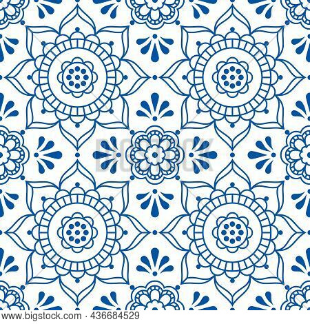 Scandinavian Floral Folk Art Outline Vector Seamless Tile Pattern, Decorative Textile Or Fabric Prin