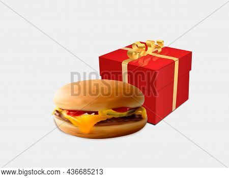 Vector Realistic Hamburger Classic Burger American Cheeseburger With Lettuce Tomato Onion Cheese Bee