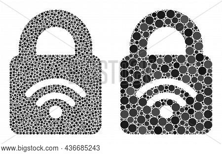 Dotted Locked Wi-fi Icon. Collage Locked Wi-fi Icon Designed From Circle Parts In Random Sizes And C