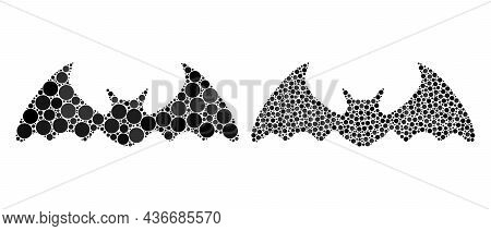Pixel Bat Mouse Icon. Mosaic Bat Mouse Icon Designed From Circle Elements In Random Sizes And Color