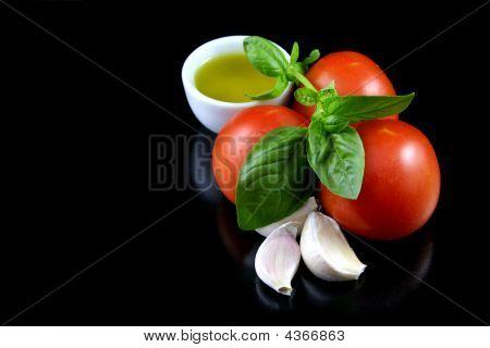 Olive oil, tomato, basil, garlic