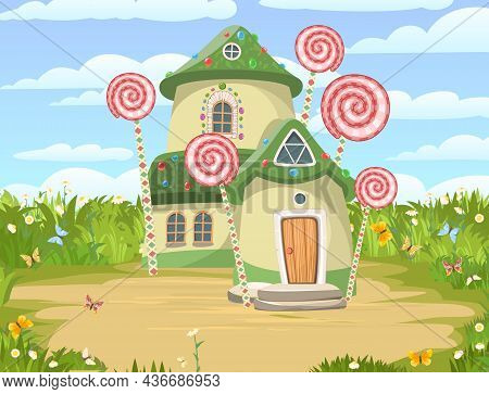 Candy Hut. On Meadow Sand Glade. Sweet Caramel Fairy House. Summer Cute Landscape. Illustration In C
