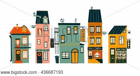 Hand-drawn Set With Cute Cozy Houses. Flat Design. Hand Drawn Trendy Illustrations. Colored Vector I
