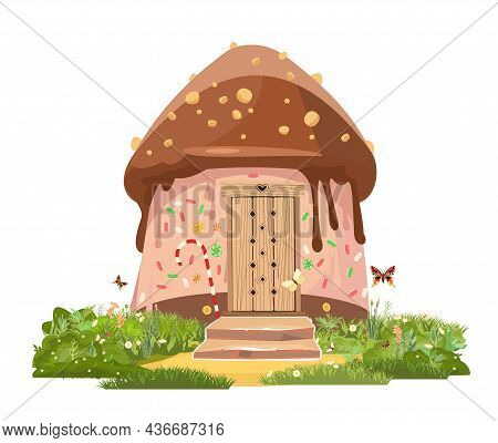 Pastry. Chocolate Home On Glade. Sweet Caramel Fairy House. Illustration In Cartoon Style Flat Desig