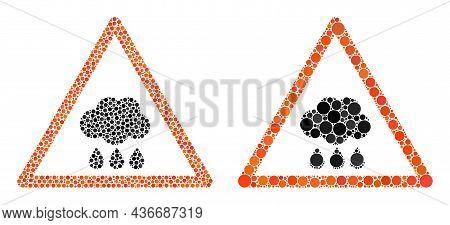 Pixelated Rain Warning Icon. Collage Rain Warning Icon Organized From Spheric Elements In Random Siz