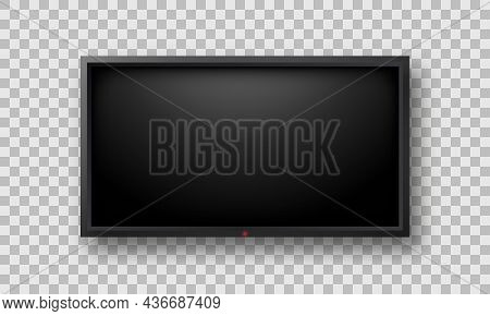 Realistic Wide Tv With Black Monitor On Transparent Background. Mockup Of Lcd Flat Television Blank