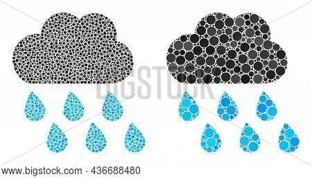 Dotted Rain Weather Icon. Collage Rain Weather Icon Organized From Round Elements In Various Sizes A