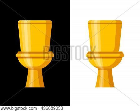 Golden Toilet Bowl With Water Tank Isolated On Black And White Background. Luxury Equipment And Acce