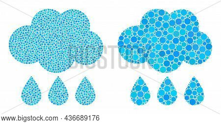 Dotted Rain Cloud Icon. Mosaic Rain Cloud Icon United From Spheric Elements In Variable Sizes And Co
