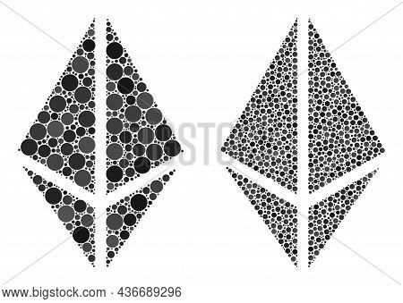 Pixel Rhombus Crystal Icon. Collage Rhombus Crystal Icon Composed Of Spheric Elements In Different S