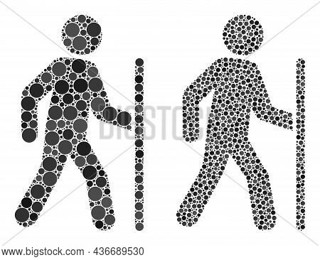 Dot Hiking Man Icon. Mosaic Hiking Man Icon Composed Of Circle Items In Various Sizes And Color Vari