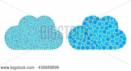 Dot Cloud Icon. Mosaic Cloud Icon Organized From Circle Items In Random Sizes And Color Variations.