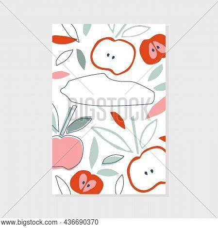 Trendy Abstract Art Templates With Floral Elements With Copy Space. Childish Cutting Style Apples An