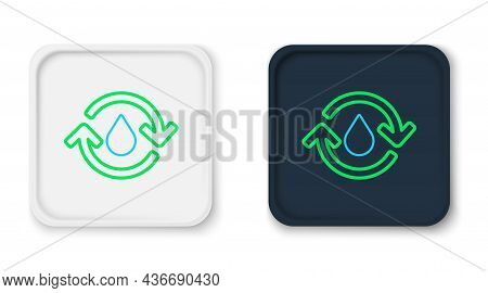 Line Recycle Clean Aqua Icon Isolated On White Background. Drop Of Water With Sign Recycling. Colorf