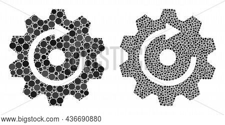 Dotted Rotate Gear Icon. Collage Rotate Gear Icon Designed From Round Items In Random Sizes And Colo
