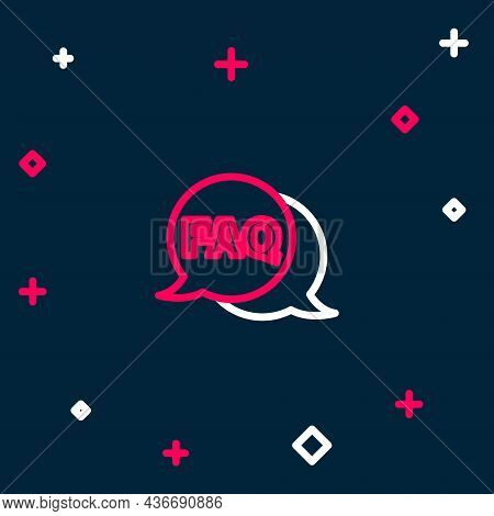 Line Speech Bubble With Text Faq Information Icon Isolated On Blue Background. Circle Button With Te