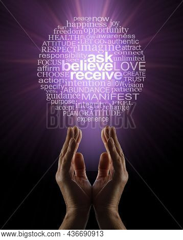 Ask Believe Receive In The Power Of Manifesting Abundance Word Circle - Male Parallel Hands Facing U