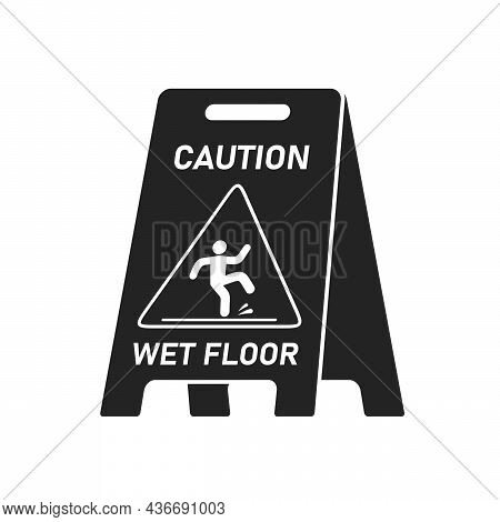 Black Wet Floor Caution Sign Isolated On White Background, Public Warning Symbol Clipart. Slippery S